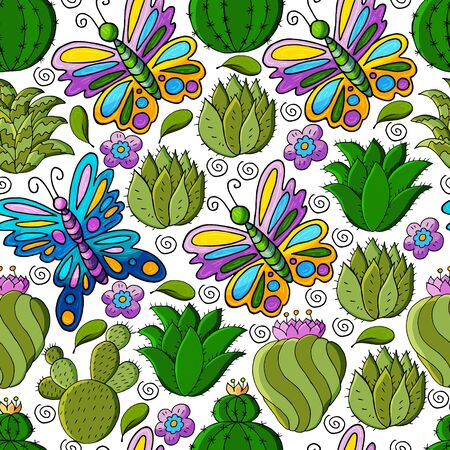 Seamless botanical illustration. Tropical pattern of different cacti, aloe, exotic animals. Butterflies, colorful flowers