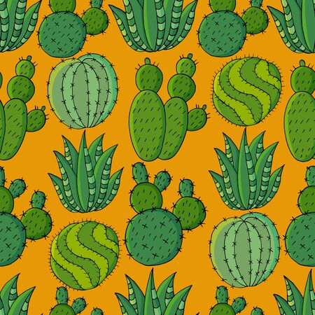 Seamless pattern of different cacti. Cute vector background of exotic plants. Tropical wallpaper in green colors. The trendy image