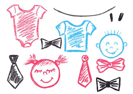 Cute childish drawing with wax crayons on a white background. Pastel chalk or pencil funny doodle style vector. A set of accessories for infants, newborns. Boy