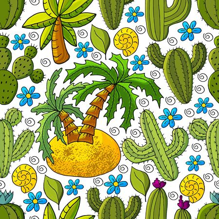 Seamless botanical illustration. Tropical pattern of different cacti, aloe, exotic animals. Palm tree, cockleshell, colorful flowers Ilustrace