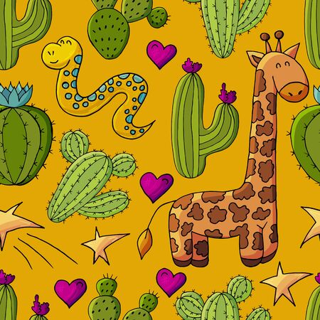 Seamless botanical illustration. Tropical pattern of different cacti, aloe, exotic animals. Giraffe, snake, stars hearts Ilustrace