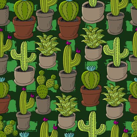 Seamless pattern of different cacti. Cute vector background of flowerpots. Tropical wallpaper in green colors. Trendy image, botanical illustration Ilustrace