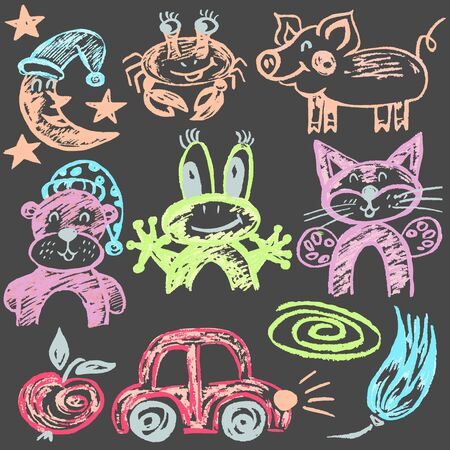 Cute childish drawing with wax crayons on a white background. Pastel chalk or pencil funny doodle style vector. Moon, crab, frog, bear, cat, car