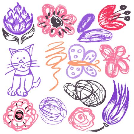 Cute childish drawing with wax crayons on a white background. Pastel chalk or pencil funny doodle style vector. Flowers, scribbles, cat, butterflies Vektorové ilustrace