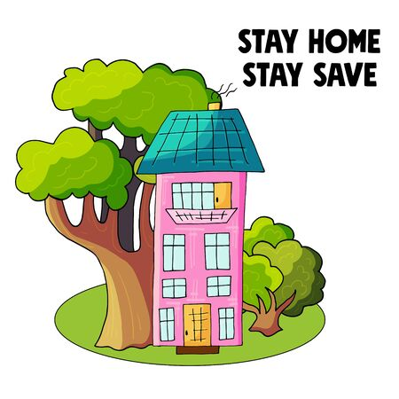Novel coronavirus (2019-nCoV). Stay at home concept illustration with house and trees modern cute style. Stay home, Stay safe