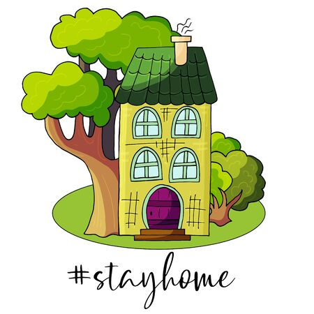Stay home hashtag and text. Coronavirus precaution. Lifestyle activity that you can do at home to stay healthy concept