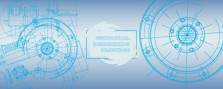 Mechanical engineering drawing. Abstract drawing. Engineering technological wallpaper