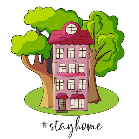 Stay at home awareness social media campaign on coronavirus (COVID-19) prevention. Stop coronavirus. Stay home hashtag and text. Lifestyle activity that you can do at home to stay healthy concept