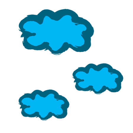 Clouds icon. Hand drawing paint, brush drawing. Isolated on a white background. Decorative element. Doodle grunge style icon. Outline, cartoon illustration