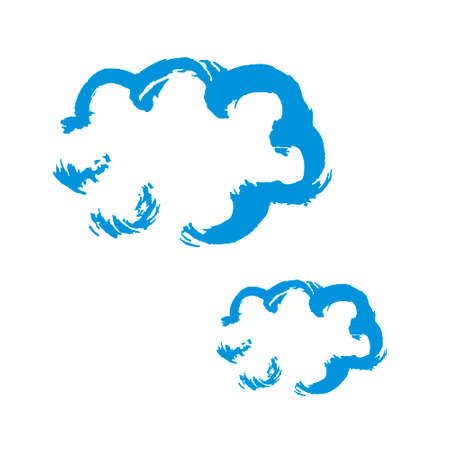 Clouds icon. Hand drawing paint, brush drawing. Isolated on a white background. Decorative element. Doodle grunge style icon