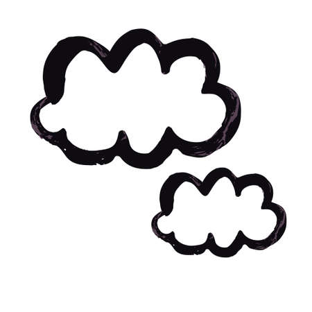 Hand drawing paint, brush drawing. Isolated on a white background. Doodle grunge style icon. Decorative element. Outline, line icon, cartoon illustration. Clouds icon Ilustracja