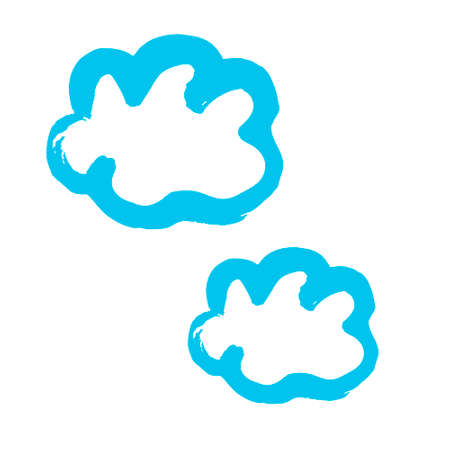 Clouds icon. Hand drawing paint, brush drawing. Isolated on a white background. Doodle grunge style icon