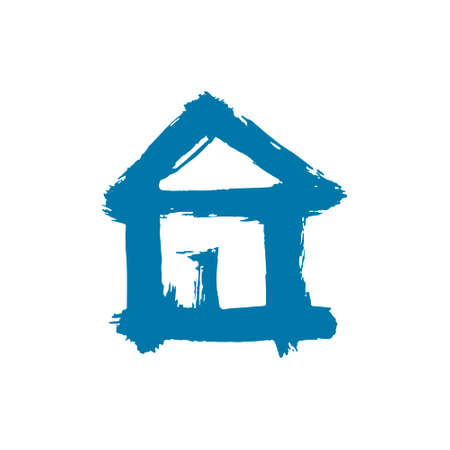 Hand drawing paint, brush drawing. Isolated on a white background. Doodle grunge style icon. Outline icon, cartoon illustration. House icon