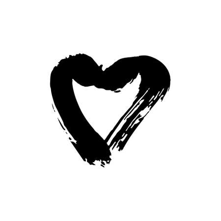 Hand drawing paint, brush drawing. Heart, love icon. Isolated on a white background. Doodle grunge style icon. Outline. Sticker, pin