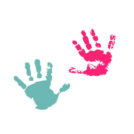 Hand drawing paint, brush drawing. Isolated on a white background. Doodle grunge style icon. Outline illustration. Baby hand icon 矢量图像