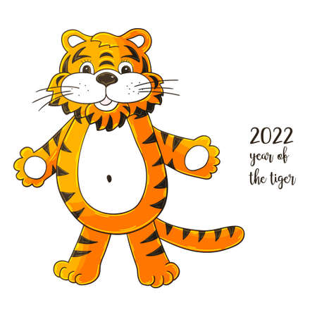 Year 2022 symbol for calendar decoration. November 2022. New Year of the Tiger according to the Chinese or Eastern calendar. Cute vector illustration in hand draw style