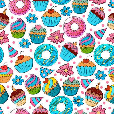 Seamless pattern with sweet pastries. Vector illustration. Cute muffins, cupcakes. Decorative birthday print. Can be used for packaging, wrapping and etc