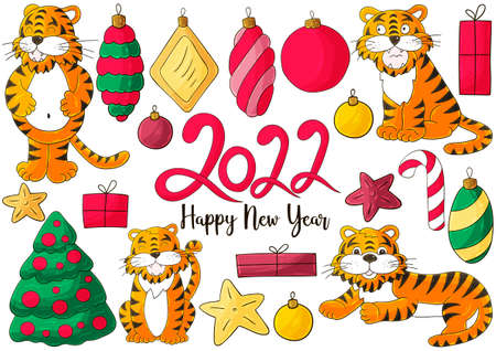 Symbol of 2022. Yellow vector greeting card with a tiger in hand draw style. New Year. Lettering 2022