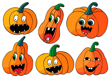 Set of Halloween design elements in hand draw style. Witch accessories. Halloween icons, cartoon style. Sign, sticker, pin