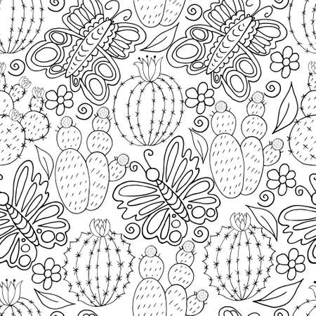 Seamless botanical illustration. Tropical pattern of monochrome cacti, aloe. Elephants, flowering exotic plants
