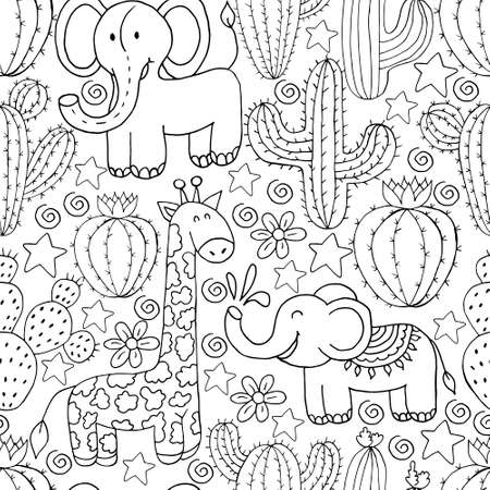 Seamless botanical illustration. Tropical pattern of different cacti, aloe, exotic animals. Butterflies, monochrome flowers, hearts