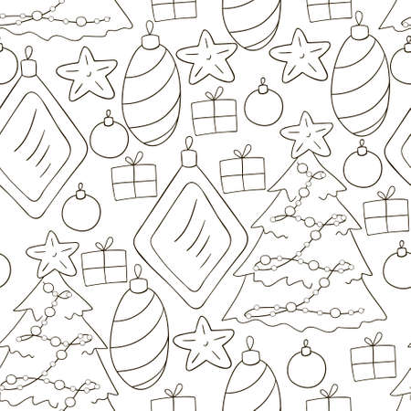 Pattern in hand draw style. Gray Seamless vector pattern with stars, Christmas tree decorations. Can be used for fabric, wrapping and etc