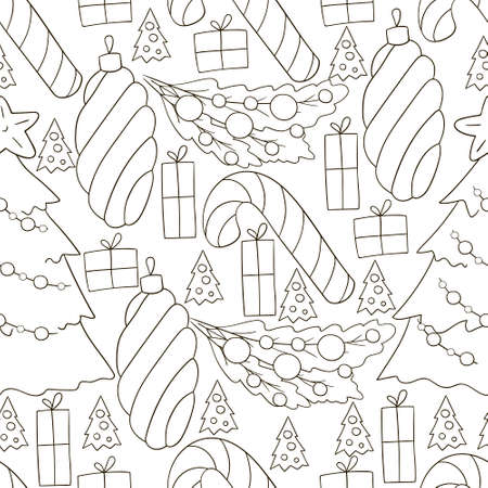 Monochrome Seamless vector pattern with stars, Christmas tree decorations. Can be used for fabric, packaging, wrapping paper, textile and etc