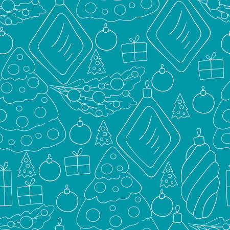 Pattern in hand draw style. pattern with stars, Christmas tree decorations. Can be used for fabric, wrapping and etc