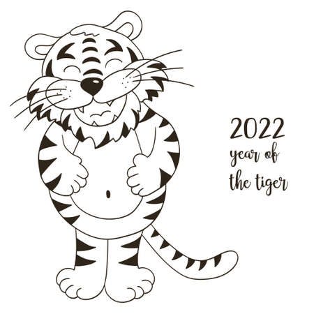 Symbol of 2022. Illustration with tiger in hand draw style. New Year 2022 Tiger lying. Monochrome animal for calendars, posters Illustration