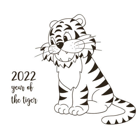 Symbol of 2022. New Year vector greeting card in hand draw style. New Year.  Monochrome illustration for postcards, calendars