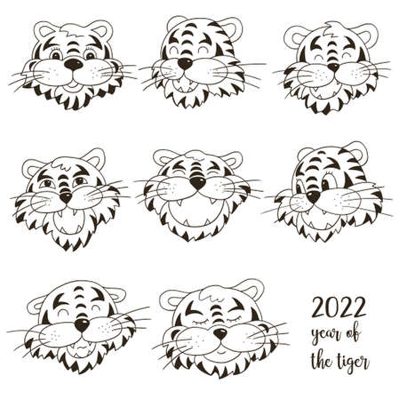 Symbol of 2022. Set of tigers in hand draw style. Faces of tigers. New Year 2022. Coloring vector illustrations