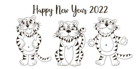 Symbol of 2022. New Year vector greeting card in hand draw style. New Year. Three tigers. Monochrome illustration for postcards, calendars