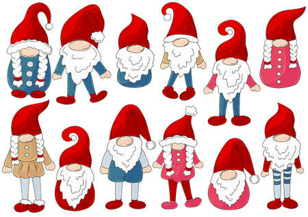 Gnomes Vector Bundle. Big Collection of gnomes on Santa Claus hats in handdrawn style. Set of vector illustrations for your design. Sign, sticker, pin