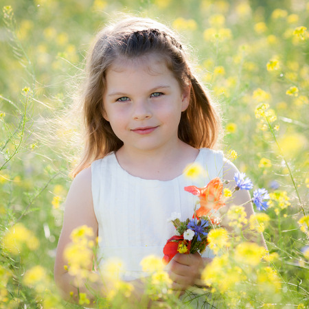 Beatiful little long-haired girl in a white dress picking flowers in a meadow photo