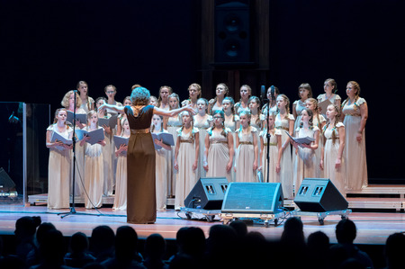 Poznan, Poland - 09/19/2014; VIVAT MUSICA CHILDREN CHOIR, Riwne, Ukraine; Conductor: Natalia Pawluczuk; Picture taken during Trillme International Girls\' Choir Festival - the first artistic event of this kind in Europe