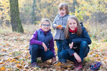 three sisters: Three sisters in the autumnal forest smiling and hugging