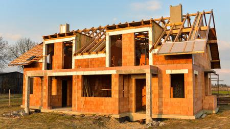 Rough brick building house under construction Stok Fotoğraf