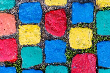 cobblestones: Colourful Pavement - Painted Cobblestones Stock Photo