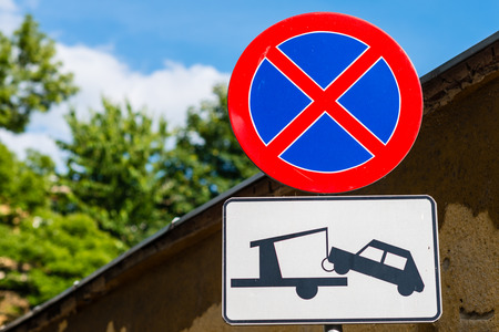 Clearway sign - traffic signs: no stopping or parking and no entry for power driven vehicle