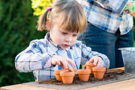 siembra: Chica niño plantando bulbos de flores con la madre. Tulipán y jacinto bulbos madre y plantación hija en pequeños potes - jardinería, concepto de plantación