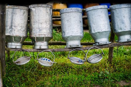 Old Milk Cans Made of Aluminum. Old milk cans made of metal to dry on a wooden stand - upside down