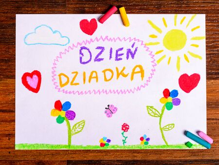 cartoon bouquet: Grandfather Day - card - child color drawing - words in Polish: Grandfather Day Stock Photo