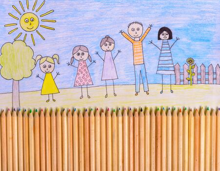 crayon drawing: Happy family drawing - kids crayon drawing with crayons forming fence