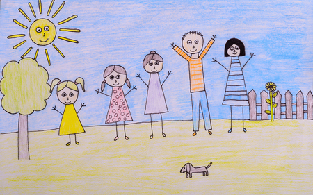 sun protection: Happy family drawing - kids crayon drawing