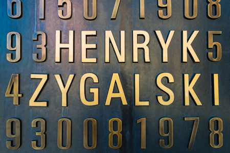 enigma: Poznan, POLAND - September 06, 2016: Monument of Polish cryptologists (Enigma Codebrakers)breaking the Enigma cipher during World War II Editorial