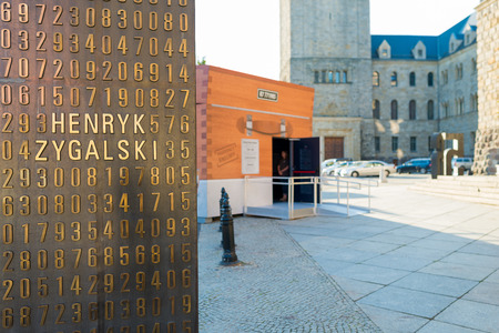 Poznan, POLAND - September 06, 2016: Encryption Container - temporary pavilion which looks like Enigma machine and stands at Sw. Marcin street in Poznan - in front of the Imperial Castle