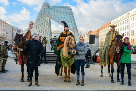 caspar: Poznan, POLAND - JANUARY 6, 2017: Epiphany holiday in Christian religion - traditional procession, reconstruction of visit of the Magi to the infant Jesus - also called procession of three kings
