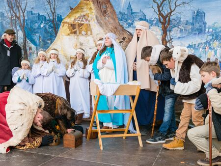 infant jesus: Poznan, POLAND - JANUARY 6, 2017: Epiphany holiday in Christian religion - traditional procession, reconstruction of visit of the Magi to the infant Jesus - also called procession of three kings