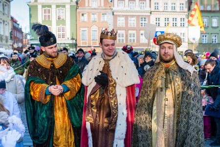 balthazar: Poznan, POLAND - JANUARY 6, 2017: Epiphany holiday in Christian religion - traditional procession, reconstruction of visit of the Magi to the infant Jesus - also called procession of three kings