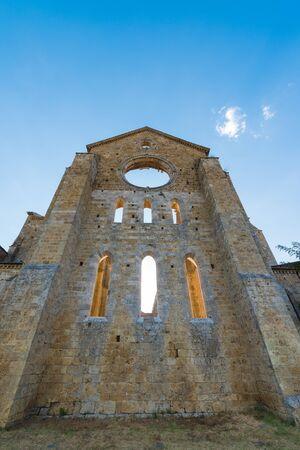 Medieval Abbey of San Galgano from 13th century, near Siena, Tuscany, Italy - example of romanesque architecture in Tuscany Stock Photo